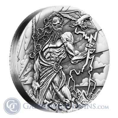 2014 Australia Zeus Gods Of Olympus 2 oz High Relief Silver Coin Obverse