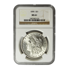 1890 Morgan Silver Dollar NGC MS61