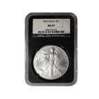 2002 1 oz Silver American Eagle MS69 NGC (Retro Holder)