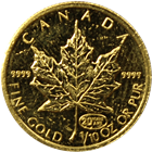 1999 1/10 oz Gold Canadian Maple Leaf with 20th Anniversary Privy Mark - Sealed In Mint Plastic