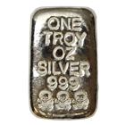 1 oz Skull and Crossbones Poured Silver Bar - Atlantis Mint (.999 Pure)
