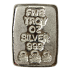 5 oz Skull and Crossbones Poured Silver Bar - Atlantis Mint (.999 Pure)