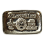 1 oz Skull And Flames Poured Silver Bar - Atlantis Mint (.999 Pure)