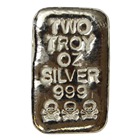 2 oz Skull And Crossbones Poured Silver Bar - Atlantis Mint (.999 Pure)