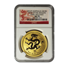 2012 Australia $100 Gold Lunar Dragon 1 oz Coin - NGC MS70 Early Release