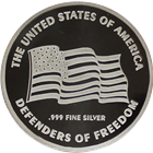 United States Of America Defenders Of Freedom 1 oz Proof Silver Round (.999 Pure)