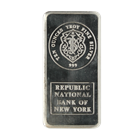 Republic National Bank Johnson Matthey 10 oz Silver Art Bar (.999 Pure)