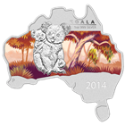 2014 Australia Map-Shaped Koala 1 oz Proof Silver (With Box & COA)