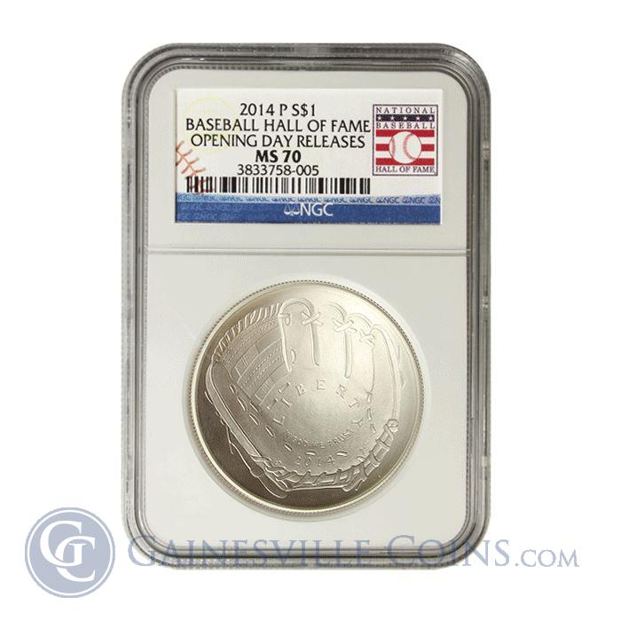 Image Showcase for 2014 $1 Baseball Hall Of Fame Silver NGC MS70 Opening Day Releases (With Box and COA)