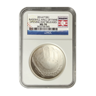 2014 $1 Baseball Hall Of Fame Silver NGC MS70 Opening Day Releases (With Box and COA)