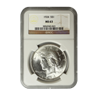 1924 Silver Peace Dollar NGC MS63