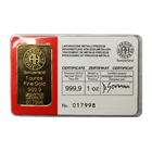 1 oz Argor Heraeus Gold Bar - In Assay Card (.9999 Pure)