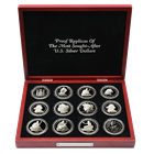 1 oz Proof Silver Replicas Of The Most Sought After US Silver Dollars 12-Piece Set (12 oz ASW)