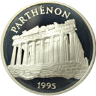 1995 France Paris Mint 100 Francs Proof Silver Parthenon - With COA