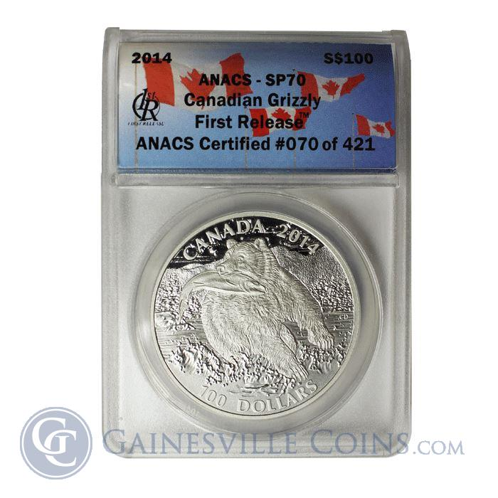 Image Showcase for 2014 1 oz Silver $100 Canadian Grizzly ANACS SP70 First Release