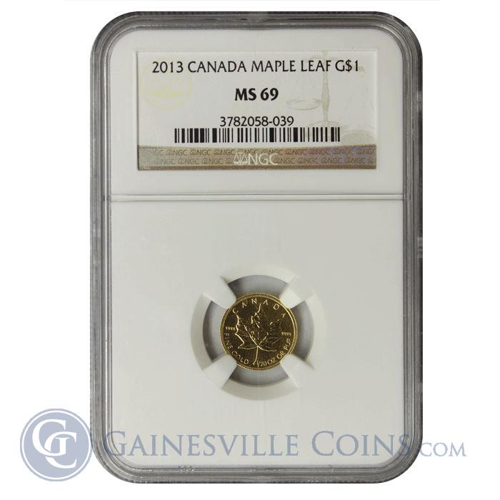 Image Showcase for 2013 1/20 oz Canadian Gold Maple Leaf NGC MS69