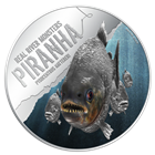2013 Piranha Real River Monster 1 oz Proof Silver $2 Niue (Mintage of ONLY 3,000!)