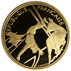 1990 France 500 Franc Proof Gold Olympic Coin - Freestyle Skier  (.50 oz of Gold) W/ Box and COA