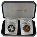 "2010 British Virgin Islands Greek Sculpture ""Elgin Marbles"" High Relief Silver and Bronze Set PCGS"