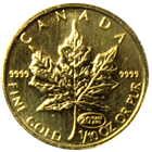 1999 1/10 oz Gold Canadian Maple Leaf with 20th Anniversary Privy Mark