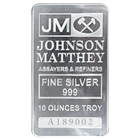 10 oz Johnson Matthey Silver Bar .999 Fine with Individual Serial Number (New)