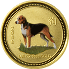 2006 Year of the Dog 1/10 oz Colorized Gold Coin- Perth Mint Series I