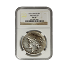 1921 Silver Peace Dollar High Relief NGC VF 30