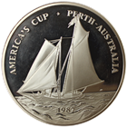 1987 5 oz. Samoa Proof Silver Coin America's Cup - Singapore Mint (With Box and COA)
