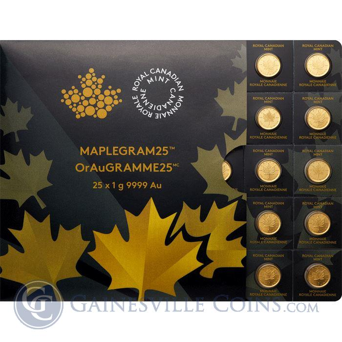 Image Showcase for 2015 Canadian MapleGram25™ - 25 x 1 gram Gold Maple Leafs (In Assay)