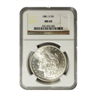 1881 S Morgan Silver Dollar NGC MS65