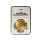 1910 $20 Saint Gaudens Gold Coin NGC MS62