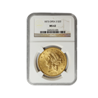 1873 Open 3 $20 Gold Liberty Double Eagle NGC MS62