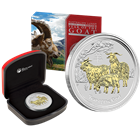 2015 Perth Mint 1oz Year of the Goat Gilded Silver Coin