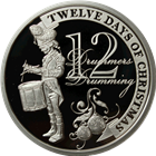 2011 PAMP Suisse Proof Silver $2 Twelve Days of Christmas - Twelfth Day (.74 oz ASW)