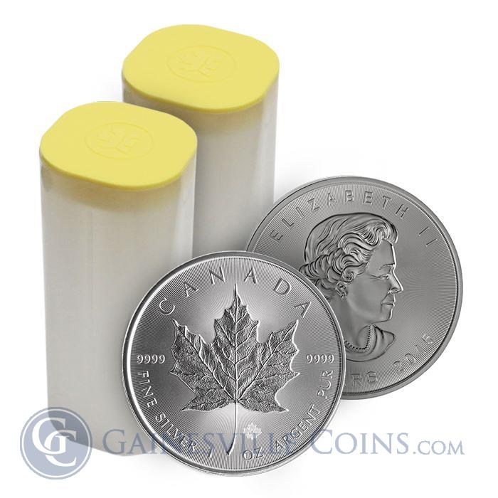 Image Showcase for 2015 1 oz Canadian Silver Maple Leaf - Roll of 25 Coins