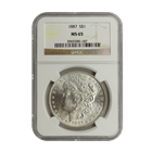 1887 Morgan Silver Dollar NGC MS65 (Serial # 9187)