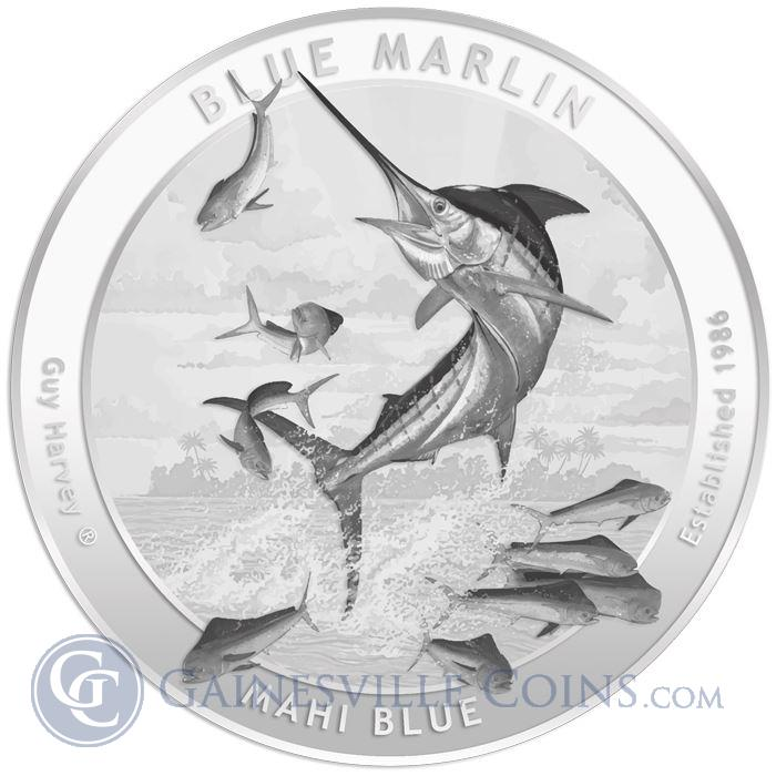 Image Showcase for 2015 Guy Harvey© 1 oz Silver Round - Series 1 - Blue Marlin Brilliant Uncirculated (.999 Pure)