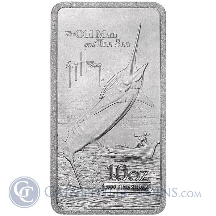Image Showcase for 2015 Guy Harvey© The Old Man and the Sea 10 oz Silver Bar - Gainesville Coins Exclusive (.999 Pure)