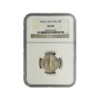1944 Philippines 20 Centavos Silver Coin NGC AU58