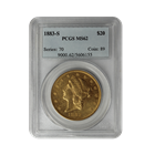 1883-S $20 Gold Liberty Double Eagle PCGS MS62