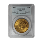 1873 $20 Gold Liberty Open 3 PCGS MS63