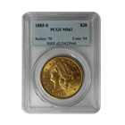 1885-S $20 Gold Liberty PCGS MS62