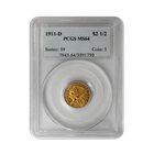 1911-D $2.5 Indian Gold Coin PCGS MS64