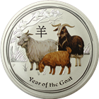 2015 Australia 2 oz Silver Goat Colorized  - Series II