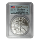 2011-W  American Silver Eagle 1 oz PCGS MS70 First Strike - Burnished Dies (Minor Spotting)