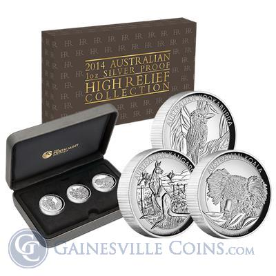 2014 High Relief 3 Coin Proof Silver Set - Kookaburra Kangaroo Koala (Australia)
