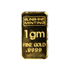 1 Gram Sunshine Minting Gold Bar (.9999 Pure)