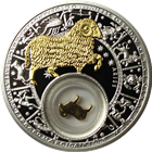 2013 Aries Zodiac Proof Silver Gilded Coin 20 Rouble Belarus
