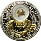 2013 Cancer Zodiac Proof Silver Gilded Coin 20 Rouble Belarus