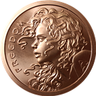 2015 Freedom Girl 5 AVDP Ounce Copper Round - Silver Shield (.999 Pure)